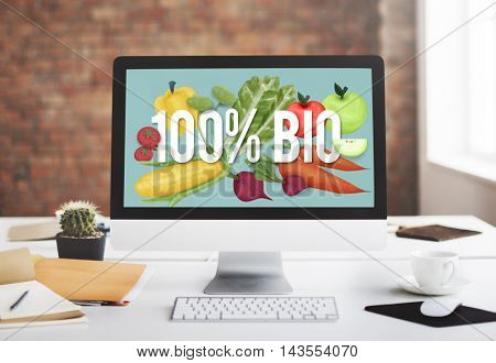 100% Bio Good Food Eat Well Concept