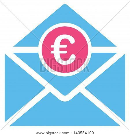 Euro Mail icon. Vector style is bicolor flat iconic symbol with rounded angles, pink and blue colors, white background.