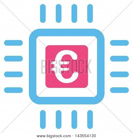 Euro Processor icon. Vector style is bicolor flat iconic symbol with rounded angles, pink and blue colors, white background.