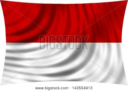 Flag of Indonesia Monaco Hesse waving in wind isolated on white background. Indonesian national flag. Patriotic symbolic design. 3d rendered illustration