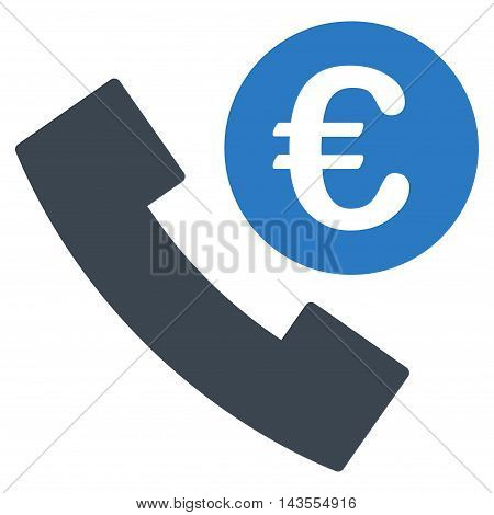 Euro Phone Order icon. Vector style is bicolor flat iconic symbol with rounded angles, smooth blue colors, white background.