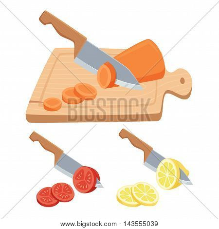 Cut vegetable and fruit set. Cut with a knife on a cutting board carrots, tomatoes, lemon. Cooking process vector illustration. Kitchenware and cooking utensils isolated on white.