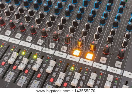 buttons equipment for sound mixer control .
