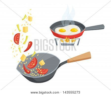 Fry in a pan set. Fry the vegetables in the wok pan and cook eggs in a frying pan. Cooking process vector illustration. Kitchenware and cooking utensils isolated on white. Food on the wok