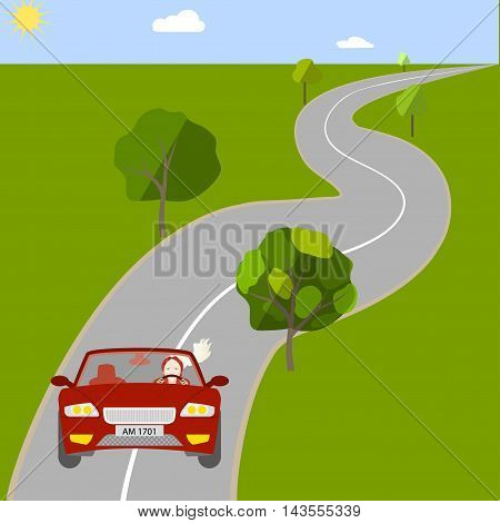 A woman driving a car on suburban highway, vector illustration