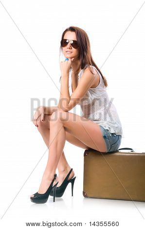 woman with leather case