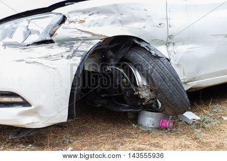 car crash and broken accident damaged automobiles .