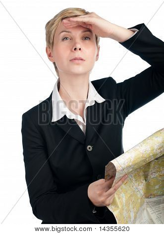 Business Woman Looking Forward With Map In Hand