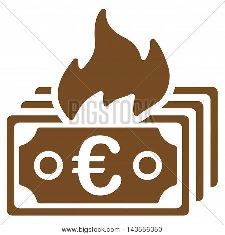 Burn Euro Banknotes icon. Vector style is flat iconic symbol with rounded angles, brown color, white background.