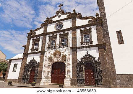 Facade of the Saint Sebastian (Igreja Matriz de Sao Sebastiao) in Ponta Delgada Sao Miguel Azores Portugal. The main town church with beautiful Baroque facade.