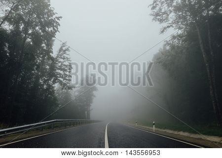 Road with separating strip in the fog among the forest