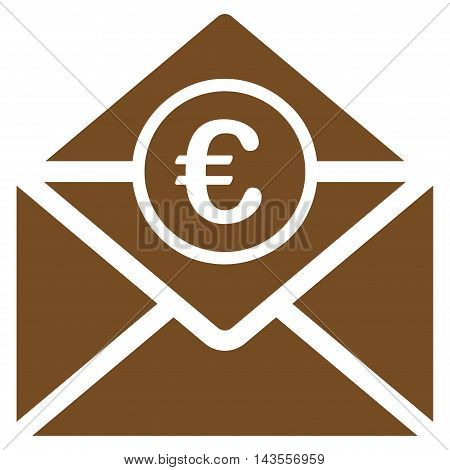 Euro Mail icon. Vector style is flat iconic symbol with rounded angles, brown color, white background.