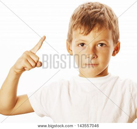 little cute white boy pointing emotional in studio isolated close up