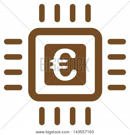 Euro Processor icon. Vector style is flat iconic symbol with rounded angles, brown color, white background.