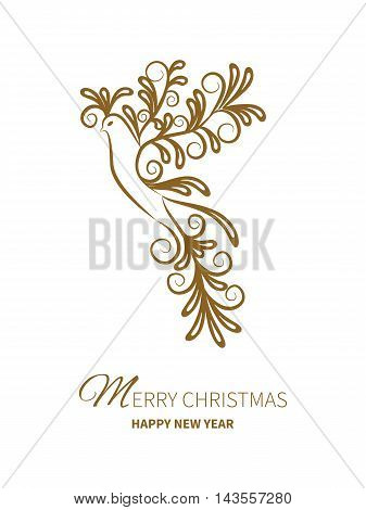 Greeting card of a stylized rooster symbol of 2017 new year