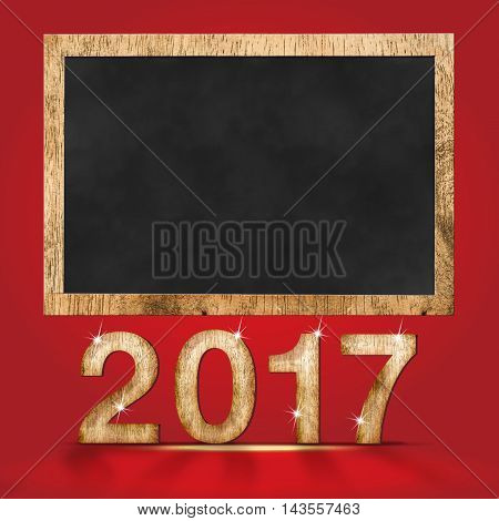 2017 new year wood texture number with blank blackboard at red studio backdropHoliday mock up design for display your content Can use for adding goal list.(,3d rendering text)