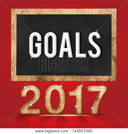 2017 new year wood texture number with Goals word on blackboard at red studio backdropBusiness vision concept.(,3d rendering text)