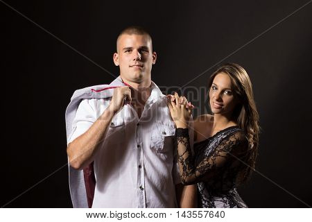 Two Young Girl Boy Couple 20 Years Old Posing Black Background