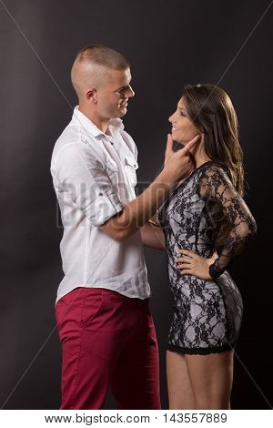 Young Couple Girl Boy Woman Man Flirting Intimate Smiling