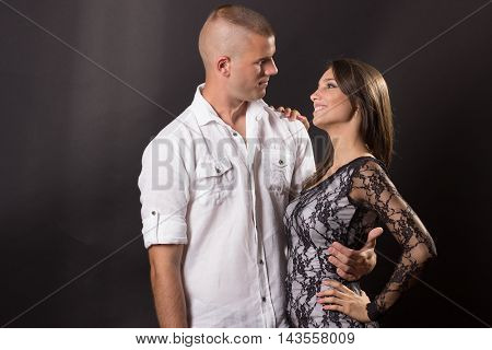 Young Couple Hugging 20 Years Old Boy Girl Woman Man Posing Black Background
