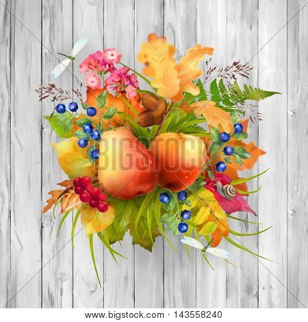 Watercolor autumn composition with apple, pear, flowers, oak and maple fall leaves, dragonflies, snail on wooden grey background