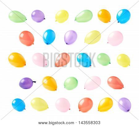 Inflated air balloons isolated over the white background, set collection of multiple different foreshortenings