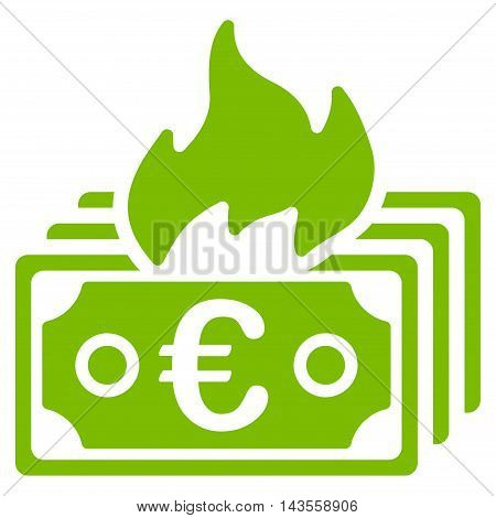 Burn Euro Banknotes icon. Vector style is flat iconic symbol with rounded angles, eco green color, white background.