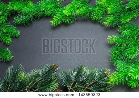 Christmas Decorations, Frame With Fir Branches On A Black Background