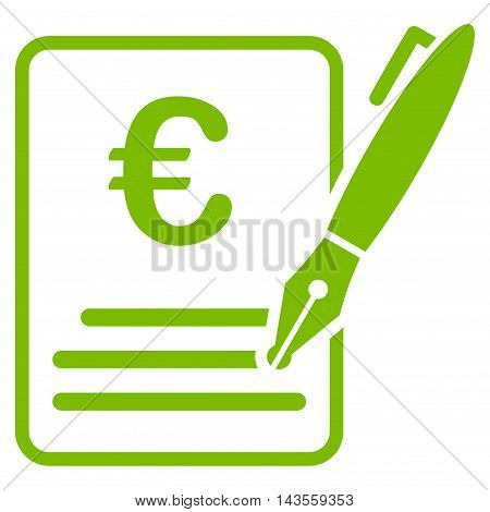 Euro Contract Signature icon. Vector style is flat iconic symbol with rounded angles, eco green color, white background.
