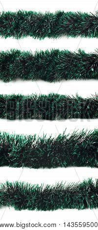 Line of a tinsel dark green decorational Christmas garland isolated over the white background, set of five different foreshortenings