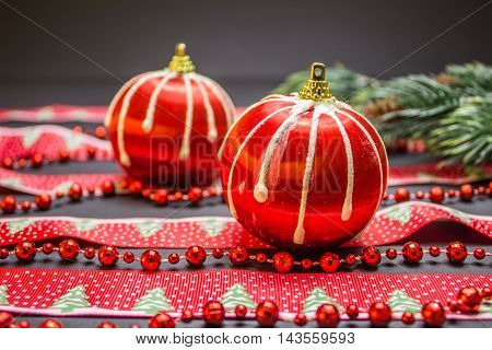Christmas Decorations, Red Stripes Balls, Fir Branch And Beads