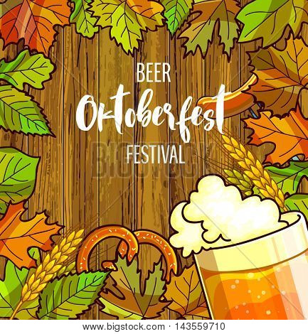 Octoberfest festival cartoon design with glass of beer, ears lettering card on wooden background. OktoberfestVector Illustration.