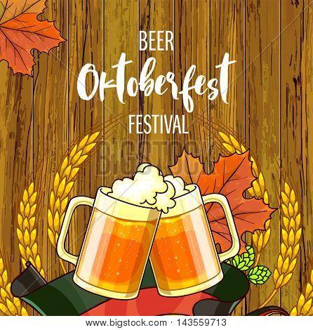 Octoberfest festival cartoon design with glass of beer, ears lettering card on wooden background. Oktoberfest Vector Illustration.