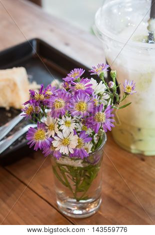 Flowers decorated in coffee shop, stock photo