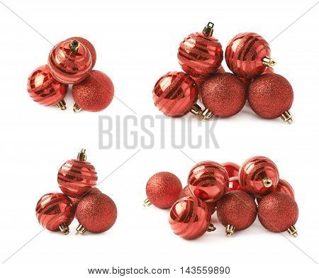 Pile of decorational red Christmas tree balls isolated over the white background, set of four different foreshortenings