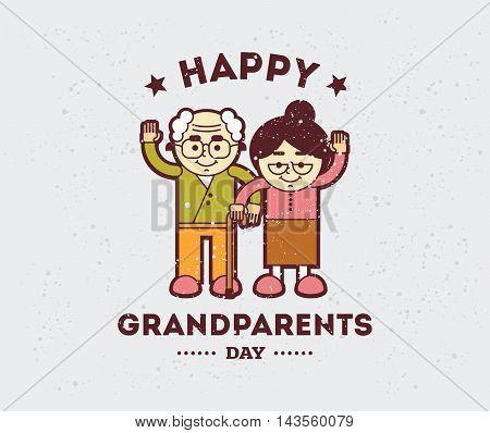 Happy Grandparents day typographic emblem, logo. Vector illustation. Design for greeting card, flyer, poster, banner or t-shirt.
