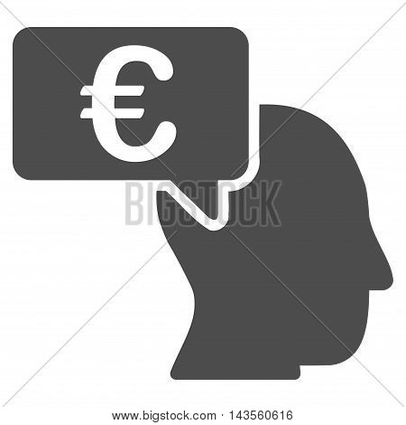 Euro Businessman Idea icon. Vector style is flat iconic symbol with rounded angles, gray color, white background.