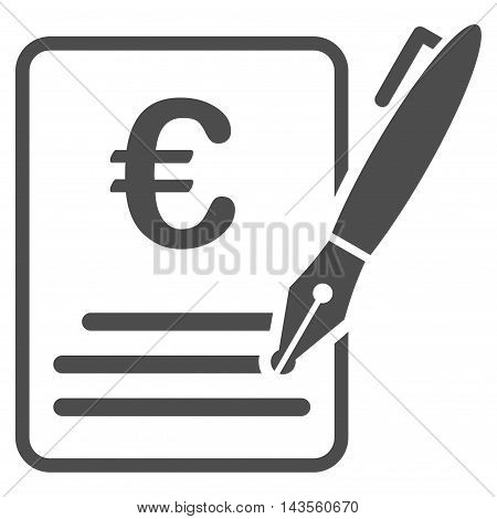Euro Contract Signature icon. Vector style is flat iconic symbol with rounded angles, gray color, white background.