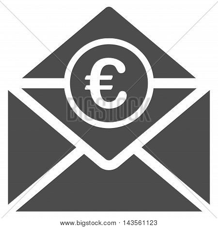 Euro Mail icon. Vector style is flat iconic symbol with rounded angles, gray color, white background.