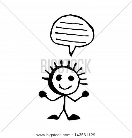 doodle people speech buble icon drawing illustration design