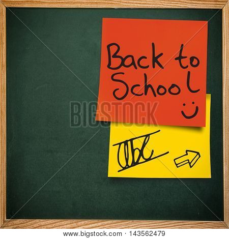Back to school message against red adhesive note
