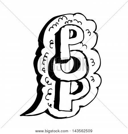 Doodle Comic speech bubble icon hand draw illustration design