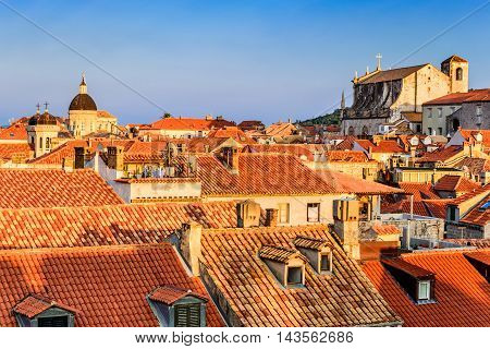 Dubrovnik Croatia. Sunset golden light over Old Town roofs of Ragusa (Duvrovnik).