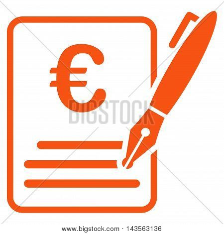Euro Contract Signature icon. Vector style is flat iconic symbol with rounded angles, orange color, white background.
