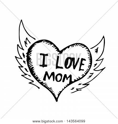 doodle i love mom icon hand draw illustration design