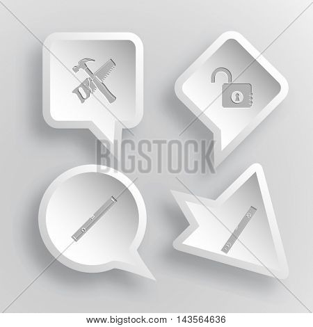 4 images: hand saw and hammer, opened lock, spirit level. Industrial tools set. Paper stickers. Vector illustration icons.