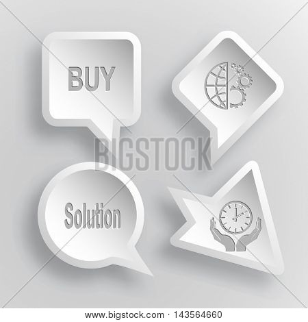 4 images: buy, globe and gears, solution, clock in hands. Business set. Paper stickers. Vector illustration icons.