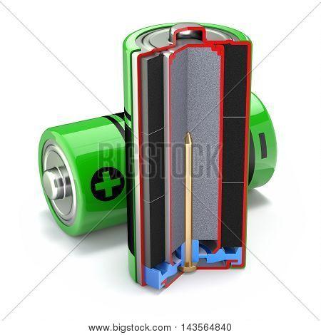 Cross section of alkaline battery on white background - 3D illustration
