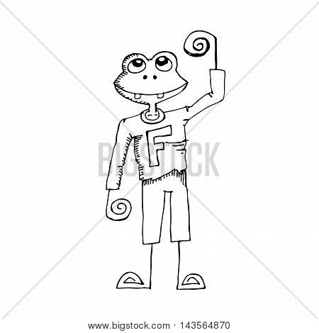 Doodle frog icon hand draw illustration design .by Jaidee Family Style