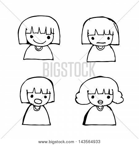 Doodle girl emotion icon hand draw illustration design .by Jaidee Family Style